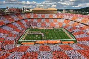 UT Neyland Stadium in Knoxville Tennessee sports colors orange and white