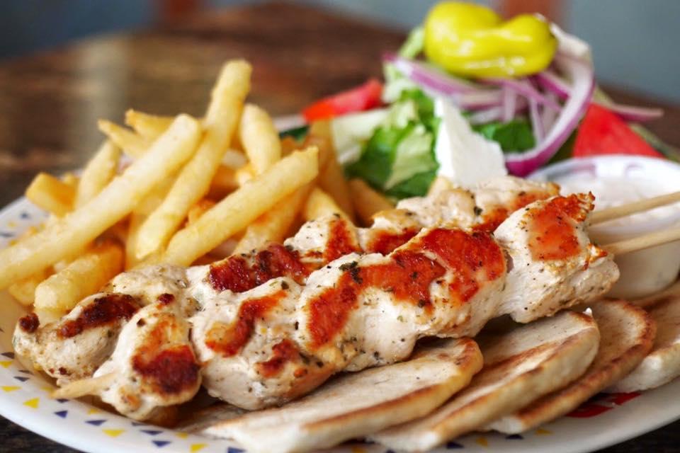 Gondolier Italian Restaurant and Pizza-Cedar Bluff- Delicious Chicken Souvlaki plate for Dinner, yummy