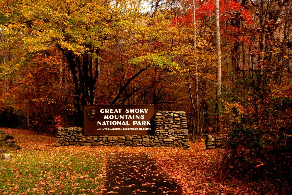 Great Smoky Mountains National Park Entrance in the fall